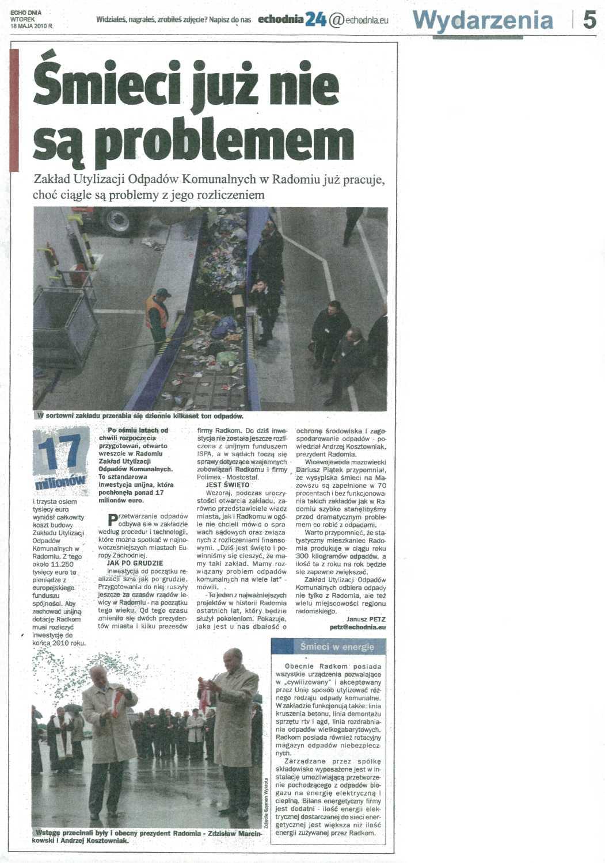 2010.05.18 Echo Dnia Śmieci już nie są problemem