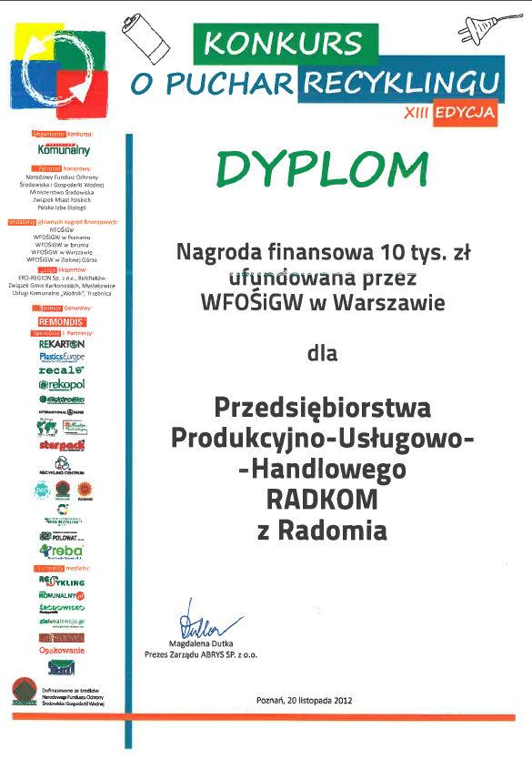 Konkurs o Puchar Recyklingu 2012 - nagroda finansowa