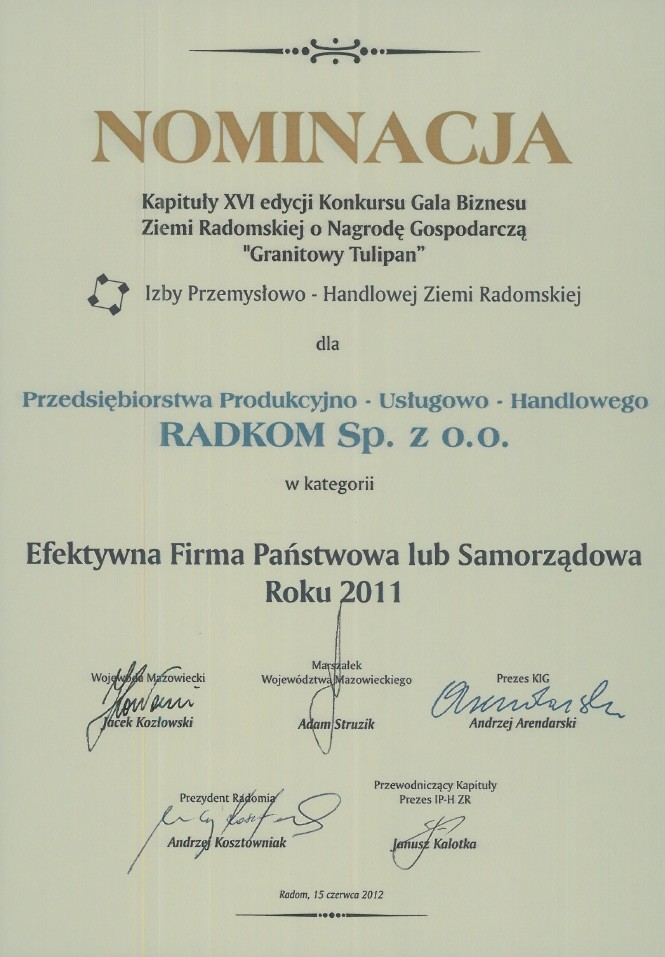 Nominacja Kapituły o Nagrodę Gospodarczą