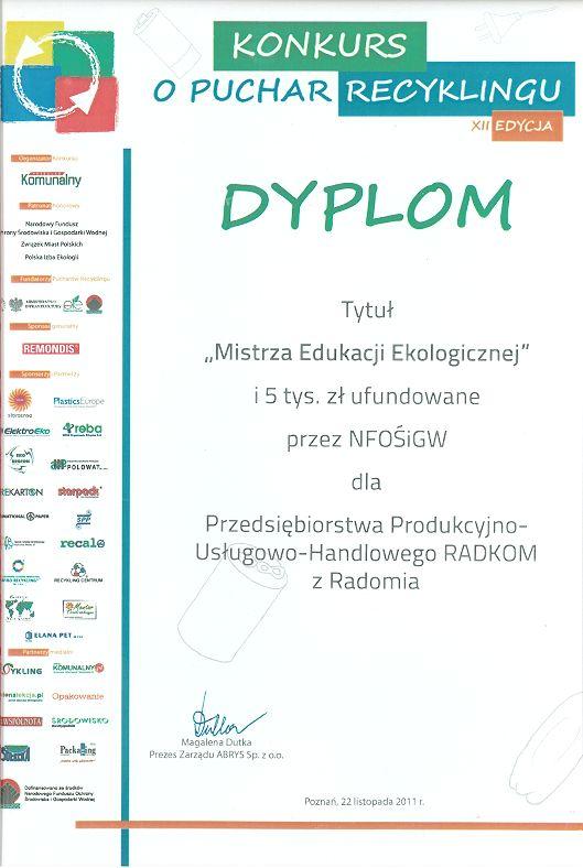 Dyplom Mistrza Edukacji Ekologicznej w XII Edycji konkursu o Puchar Recyklingu